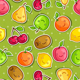 Seamless pattern with cute kawaii smiling fruits Royalty Free Stock Photo