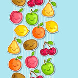 Seamless pattern with cute kawaii smiling fruits Stock Photo