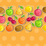 Seamless pattern with cute kawaii smiling fruits Stock Photography