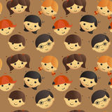 Seamless pattern of cute kids faces Stock Image