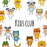 Seamless pattern with cute kids wearing animal costumes Royalty Free Stock Photography