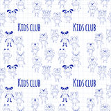 Seamless pattern with cute kids wearing animal costumes Royalty Free Stock Images