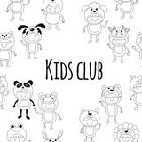Seamless pattern with cute kids wearing animal costumes Stock Photo