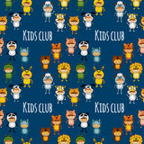 Seamless pattern with cute kids wearing animal costumes Stock Photos