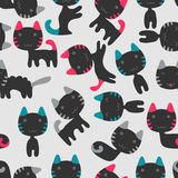 Seamless pattern with cute kittens Stock Images