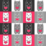 Seamless pattern with cute kittens Stock Photo