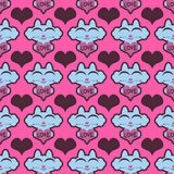Seamless pattern with cute kittens holding hearts Royalty Free Stock Photography