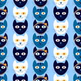 Seamless pattern with cute kittens Royalty Free Stock Photos