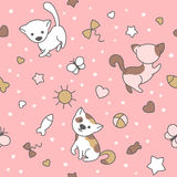 Seamless pattern with cute kittens. Royalty Free Stock Photography