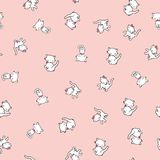 Seamless pattern with cute kitty stickers isolated on pink background. Vector illustration. Royalty Free Stock Photos