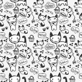 Seamless pattern with cute kitty Stock Images