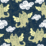 Seamless pattern with cute kitty angels Stock Images