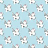 Seamless pattern with cute kitty stickers isolated on blue background. Vector illustration. Stock Photo