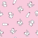 Seamless pattern with cute kitty stickers isolated on pink background. Vector illustration. Seamless pattern with cute kitty, milk stickers isolated on pink Stock Images
