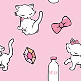 Seamless pattern with cute kitty stickers isolated on pink background. Vector illustration. Stock Photography