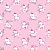 Seamless pattern with cute kitty stickers  on pink background. Vector illustration. Royalty Free Stock Photos