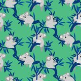 Seamless pattern with cute koala bears on eucalyptus tree. Green mint vector repeat background for apparel print Stock Illustration