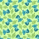Seamless pattern with cute koala bears and leaves. Repeating background for childrens textile prints, wrapping paper. royalty free illustration