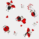 Seamless pattern with cute ladybird - vector Stock Image