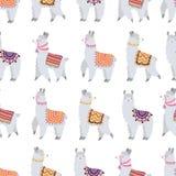 Seamless pattern with cute lamas stock illustration