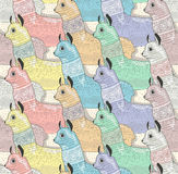Seamless pattern with cute lamas or alpacas Royalty Free Stock Image