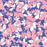 Seamless pattern with cute leaves silhouettes on white background. Royalty Free Stock Photography