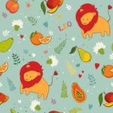 Seamless pattern, cute leon Stock Image