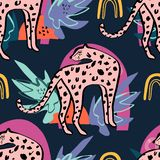 Seamless pattern with cute leopard and tropical plants. Cartoon childish style, good for fabric and textile, wallpapers and more. stock illustration