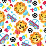 Seamless pattern of cute lion boys, balls and car toys  cartoon illustration  Stock Photos