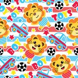 Seamless pattern of cute lion boys, balls and car toys on striped background   Royalty Free Stock Photos