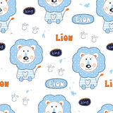 Seamless pattern with cute lions. For kids design vector illustration