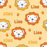 Seamless pattern with cute lions Royalty Free Stock Photos