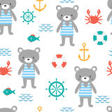 Seamless pattern with cute little bear sailor. Marine children background with fish, crab and anchor. Sea, ocean Royalty Free Stock Photos