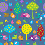 Seamless pattern with cute little birds in the background of trees stock illustration