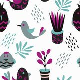 Seamless pattern with cute little birds Royalty Free Stock Photo