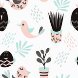 Seamless pattern with cute little birds Stock Photos