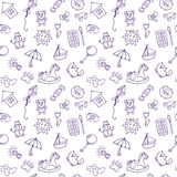 Seamless pattern for cute little boys and girls. Doodle children Royalty Free Stock Photography