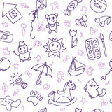 Seamless pattern for cute little boys and girls. Hand drawn children drawings. Doodle children drawing background. Sketch style. Vector illustration Royalty Free Stock Photos
