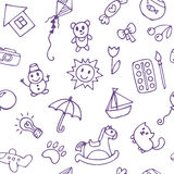 Seamless pattern for cute little boys and girls. Hand drawn children drawings. Doodle children drawing background. Vector illustration Royalty Free Stock Images