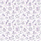 Seamless pattern for cute little boys and girls. Hand drawn children drawings. Sketch style. Doodle children drawing background Stock Photo