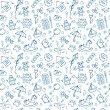 Seamless pattern for cute little boys and girls. Sketch style. Hand drawn children drawings. Doodle children drawing background. Vector illustration Stock Photo