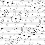 Seamless pattern with cute little bunny. vector illustration.  royalty free illustration