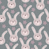 Seamless pattern with cute little bunny. vector illustration Stock Photography