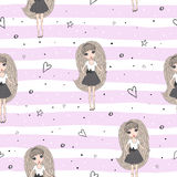Seamless pattern with cute little bunny. vector illustration.  Stock Photo