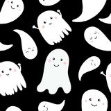 Seamless pattern of cute little cartoon ghosts. Stock Images