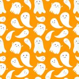 Seamless pattern of cute little cartoon ghosts. Royalty Free Stock Images