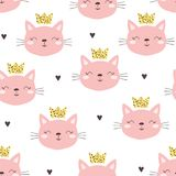 Seamless pattern with cute little cat. vector illustration. stock photos