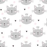 Seamless pattern with cute little cat. vector illustration. royalty free stock photo