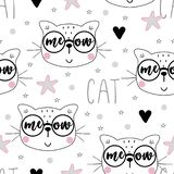 Seamless pattern with cute little cat. vector illustration. stock image