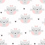Seamless pattern with cute little cat. vector illustration. royalty free stock photos
